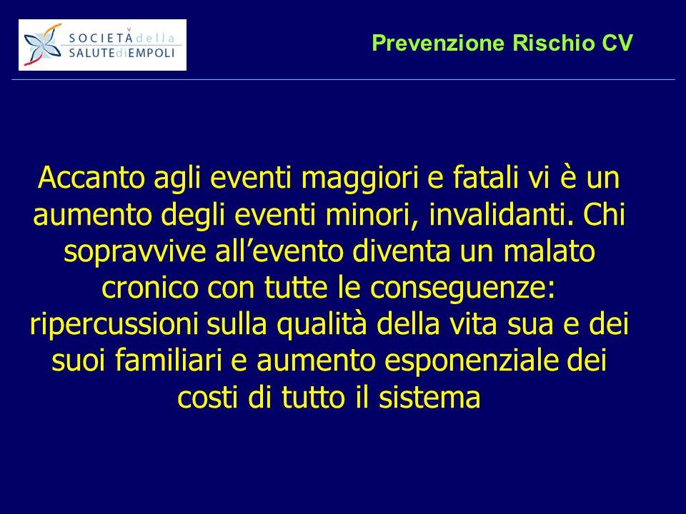 Prevenzione Rischio CV Accanto agli eventi maggiori e fatali vi è un aumento degli eventi minori, invalidanti.
