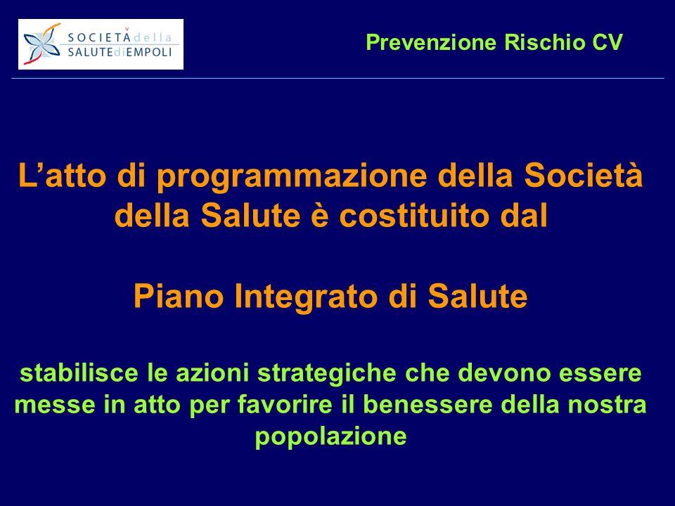 Prevenzione Rischio CV Latto di programmazione della Società della Salute è costituito dal Piano Integrato di Salute stabilisce le azioni strategiche