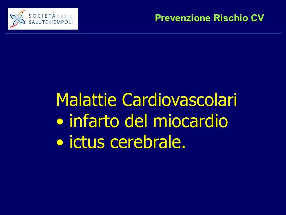 Prevenzione Rischio CV Malattie Cardiovascolari infarto del miocardio ictus cerebrale.