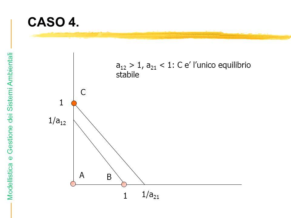 Modellistica e Gestione dei Sistemi Ambientali CASO 4. 1 1/a 12 1 1/a 21 a 12 > 1, a 21 < 1: C e lunico equilibrio stabile A B C