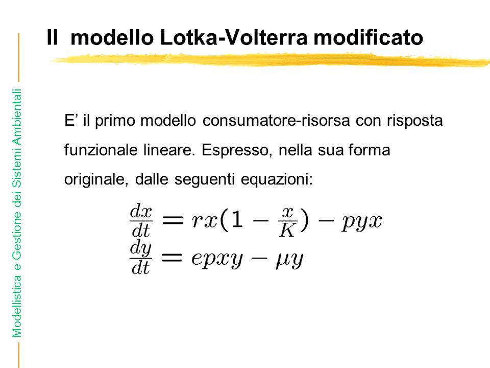 Modellistica e Gestione dei Sistemi Ambientali Il modello Lotka-Volterra modificato E il primo modello consumatore-risorsa con risposta funzionale lineare.