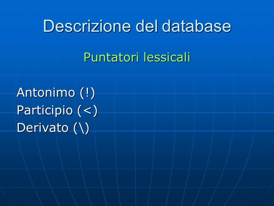 Descrizione del database Puntatori lessicali Antonimo (!) Participio (<) Derivato (\)
