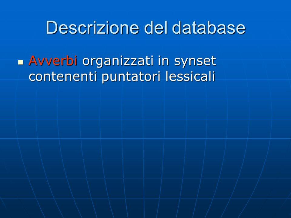 Descrizione del database Avverbi organizzati in synset contenenti puntatori lessicali Avverbi organizzati in synset contenenti puntatori lessicali