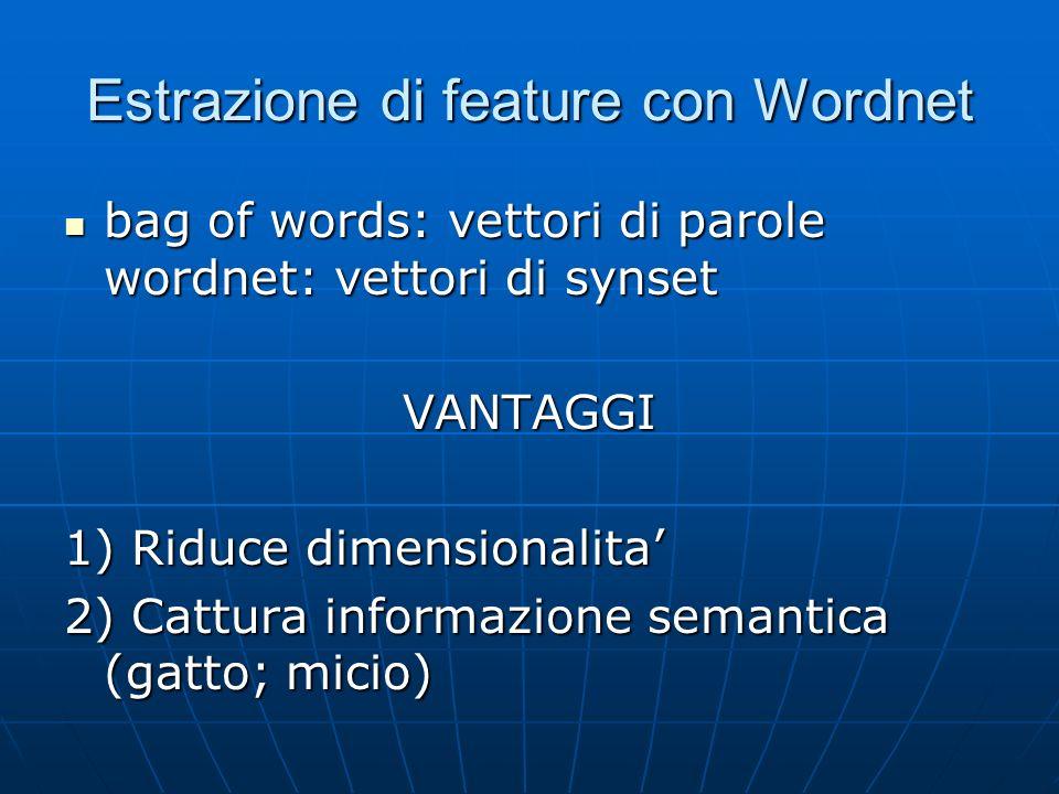 Estrazione di feature con Wordnet bag of words: vettori di parole wordnet: vettori di synset bag of words: vettori di parole wordnet: vettori di synsetVANTAGGI 1) Riduce dimensionalita 2) Cattura informazione semantica (gatto; micio)