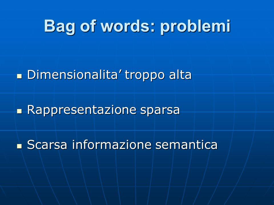 Bag of words: problemi Dimensionalita troppo alta Dimensionalita troppo alta Rappresentazione sparsa Rappresentazione sparsa Scarsa informazione semantica Scarsa informazione semantica