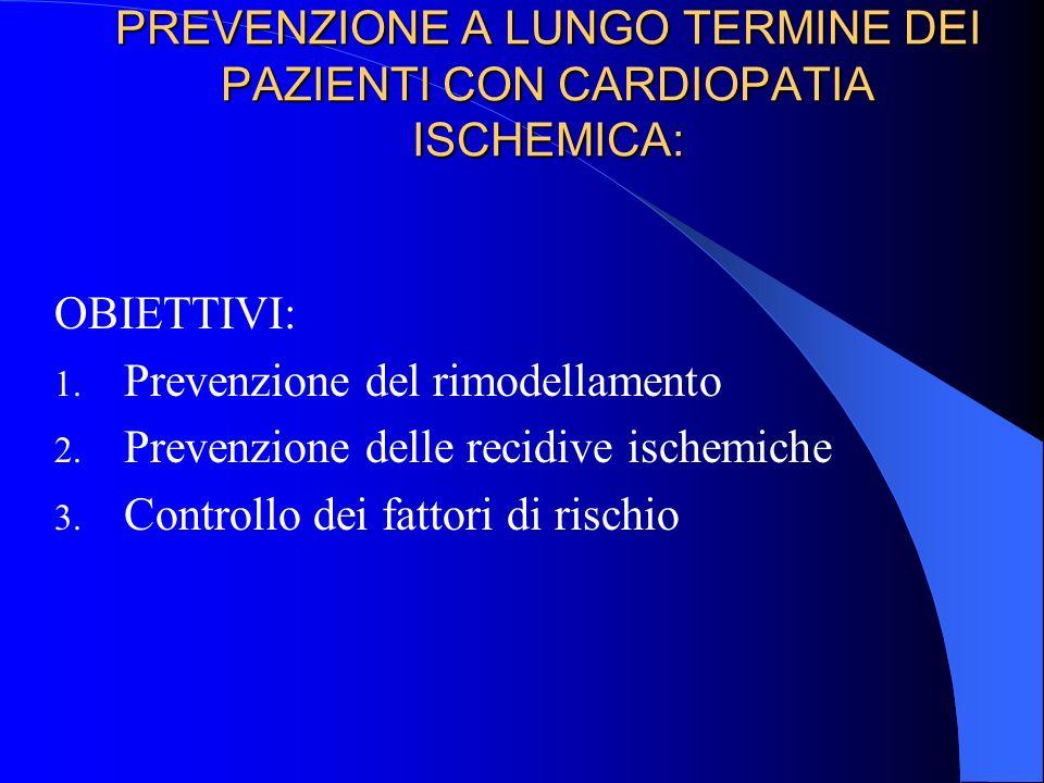 PREVENZIONE A LUNGO TERMINE DEI PAZIENTI CON CARDIOPATIA ISCHEMICA: OBIETTIVI: 1.