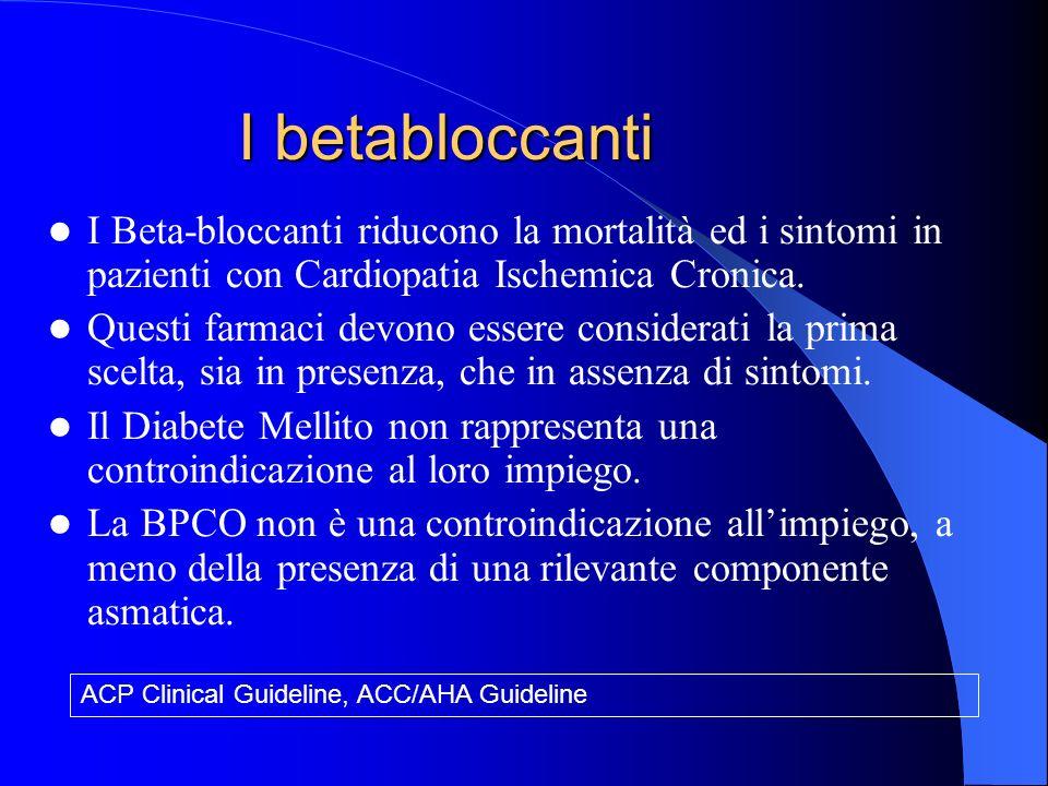 I Beta-bloccanti riducono la mortalità ed i sintomi in pazienti con Cardiopatia Ischemica Cronica.
