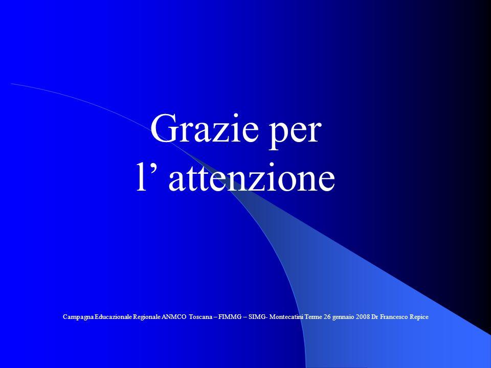 Grazie per l attenzione Campagna Educazionale Regionale ANMCO Toscana – FIMMG – SIMG- Montecatini Terme 26 gennaio 2008 Dr Francesco Repice