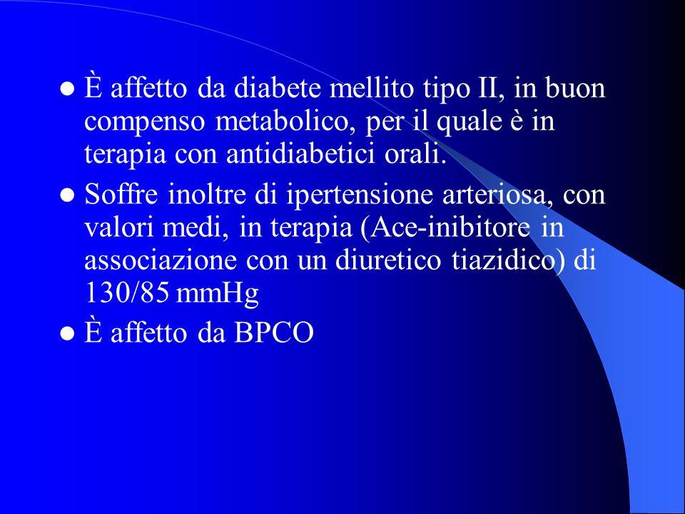 È affetto da diabete mellito tipo II, in buon compenso metabolico, per il quale è in terapia con antidiabetici orali.