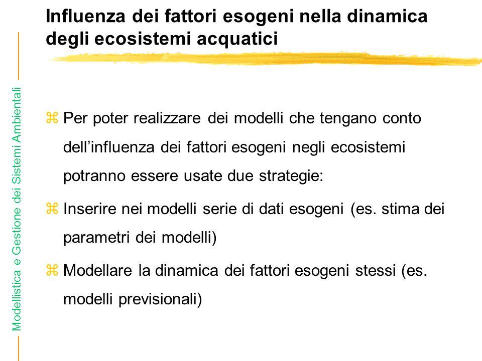 Modellistica e Gestione dei Sistemi Ambientali Influenza dei fattori esogeni nella dinamica degli ecosistemi acquatici zPer poter realizzare dei modelli che tengano conto dellinfluenza dei fattori esogeni negli ecosistemi potranno essere usate due strategie: zInserire nei modelli serie di dati esogeni (es.