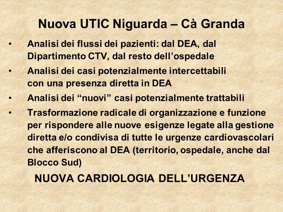 Nuova UTIC Niguarda – Cà Granda Analisi dei flussi dei pazienti: dal DEA, dal Dipartimento CTV, dal resto dellospedale Analisi dei casi potenzialmente