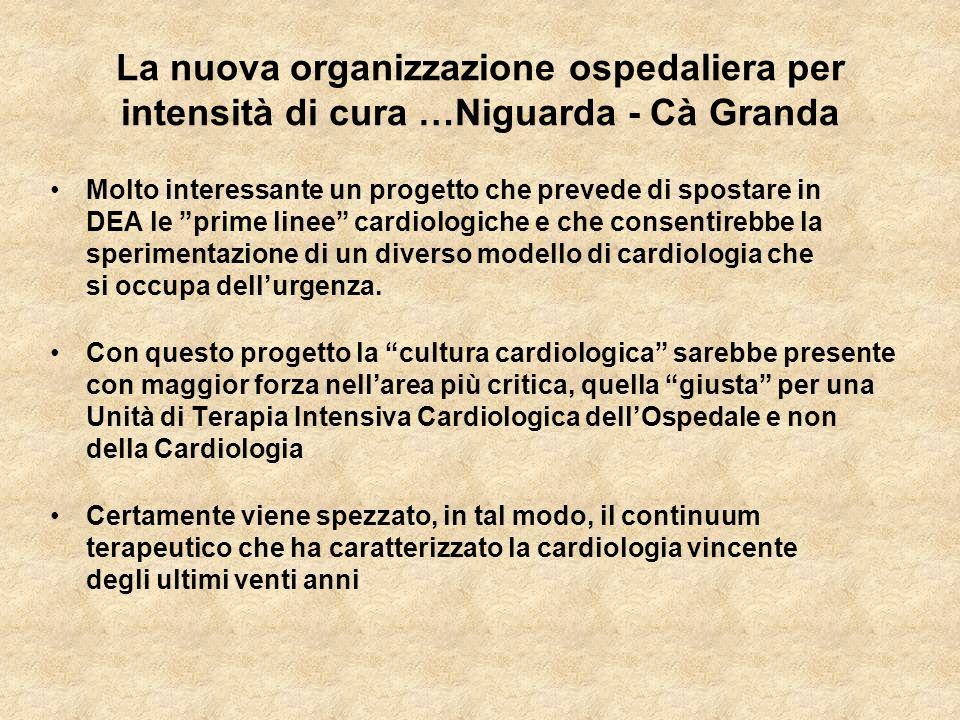 La nuova organizzazione ospedaliera per intensità di cura …Niguarda - Cà Granda Molto interessante un progetto che prevede di spostare in DEA le prime