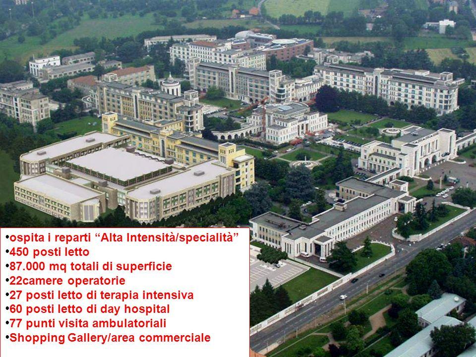 ospita i reparti Alta Intensità/specialità 450 posti letto 87.000 mq totali di superficie 22camere operatorie 27 posti letto di terapia intensiva 60 p