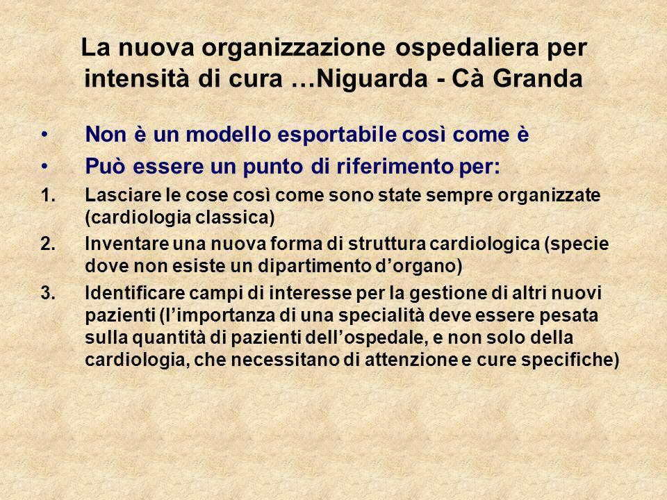La nuova organizzazione ospedaliera per intensità di cura …Niguarda - Cà Granda Non è un modello esportabile così come è Può essere un punto di riferi