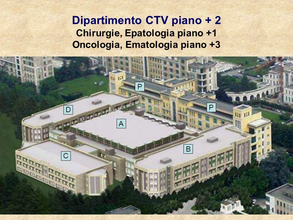 Dipartimento Cardio-toraco-vascolare A B D C P P Settore A = Blocco operatorio 5 sale angio (1 ibrida) (anche per radiologia interventistica) 5 camere operatorie Settore C = Terapia Intensiva 27 letti (3 moduli di 7+ 2 stanze isolamento) Settore D = 24 letti DO + 12 Alta Intensità + 1 e/o WS (PCI) elettive Piano +1 Settore B = 44 letti DO Settore Ponti = 44 letti DO