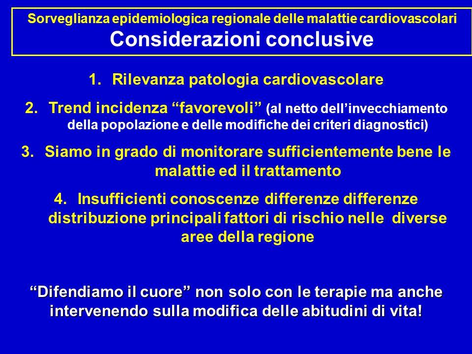 Sorveglianza epidemiologica regionale delle malattie cardiovascolari Considerazioni conclusive 1.Rilevanza patologia cardiovascolare 2.Trend incidenza
