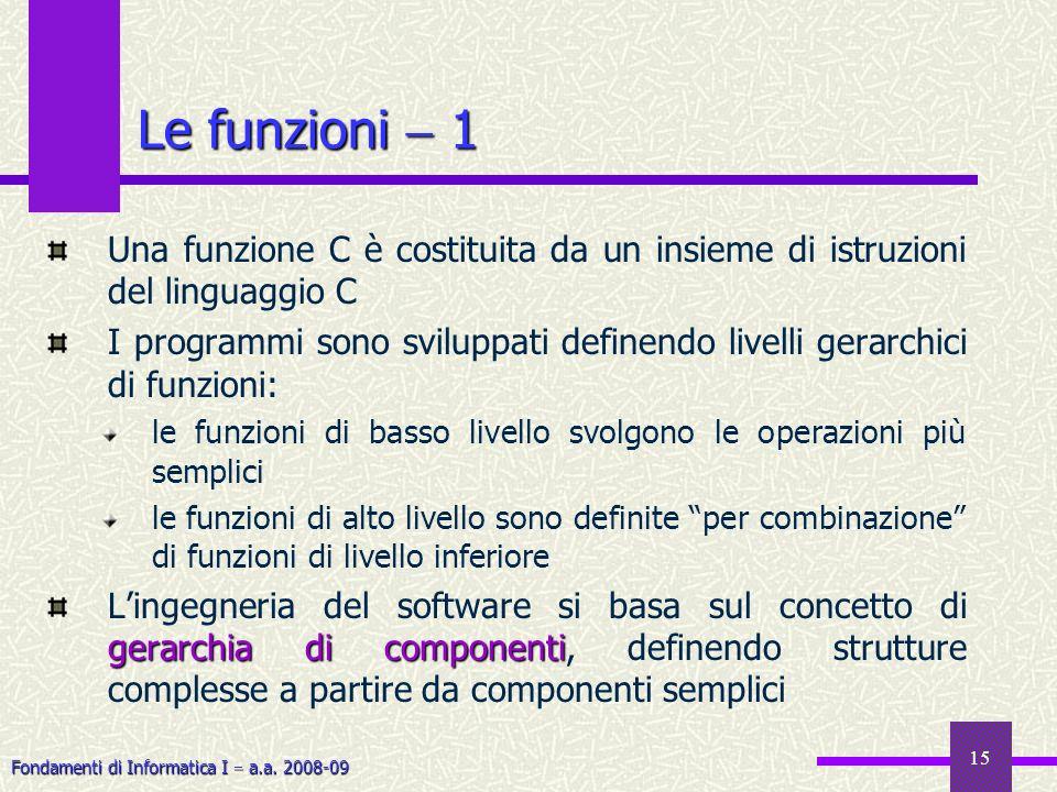 Fondamenti di Informatica I a.a. 2008-09 15 Le funzioni 1 Una funzione C è costituita da un insieme di istruzioni del linguaggio C I programmi sono sv
