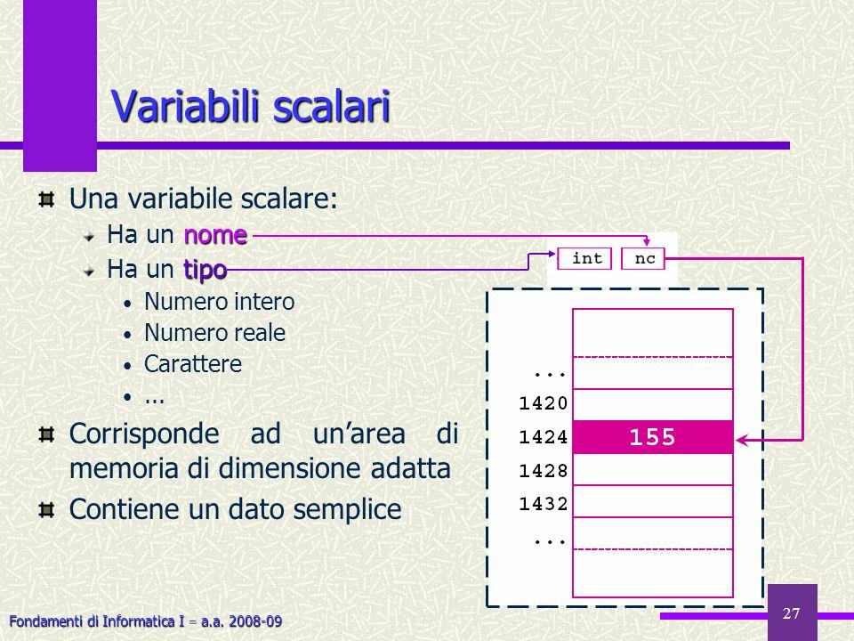 Fondamenti di Informatica I a.a. 2008-09 27 Una variabile scalare: nome Ha un nome tipo Ha un tipo Numero intero Numero reale Carattere... Corrisponde