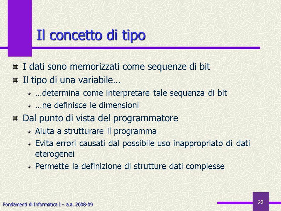 Fondamenti di Informatica I a.a. 2008-09 30 I dati sono memorizzati come sequenze di bit Il tipo di una variabile… …determina come interpretare tale s