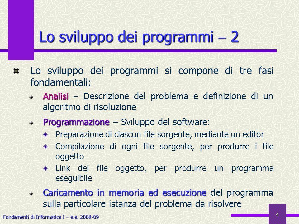 Fondamenti di Informatica I a.a. 2008-09 4 Lo sviluppo dei programmi si compone di tre fasi fondamentali: Analisi Analisi – Descrizione del problema e