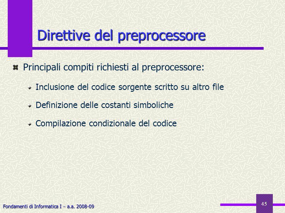 Fondamenti di Informatica I a.a. 2008-09 45 Principali compiti richiesti al preprocessore: Inclusione del codice sorgente scritto su altro file Defini