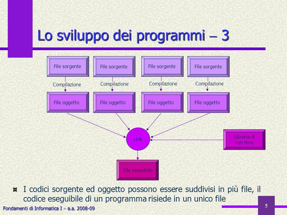 Fondamenti di Informatica I a.a. 2008-09 5 I codici sorgente ed oggetto possono essere suddivisi in più file, il codice eseguibile di un programma ris