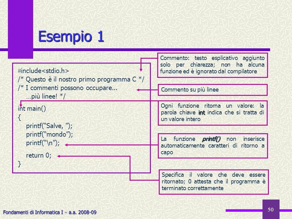 Fondamenti di Informatica I a.a. 2008-09 50 Esempio 1 include /* Questo è il nostro primo programma C */ /* I commenti possono occupare... …più linee!