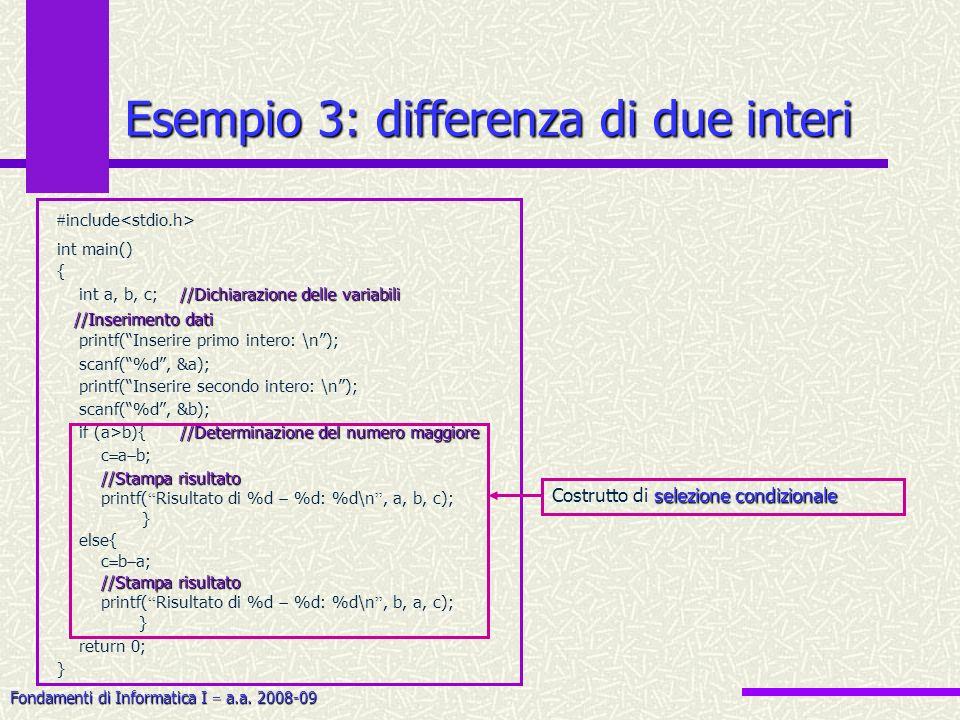 Fondamenti di Informatica I a.a. 2008-09 Esempio 3: differenza di due interi include int main() { //Dichiarazione delle variabili int a, b, c; //Dichi
