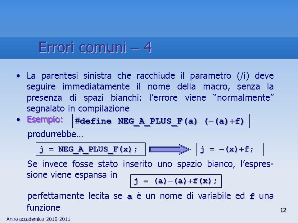 Anno accademico 2010-2011 12 La parentesi sinistra che racchiude il parametro (/i) deve seguire immediatamente il nome della macro, senza la presenza di spazi bianchi: lerrore viene normalmente segnalato in compilazione Esempio:Esempio: produrrebbe… Se invece fosse stato inserito uno spazio bianco, lespres- sione viene espansa in a f perfettamente lecita se a è un nome di variabile ed f una funzione define NEG_A_PLUS_F(a) ( (a) f) define NEG_A_PLUS_F(a) ( (a) f) j (x) f; j NEG_A_PLUS_F(x); j (a) (a) f(x); Errori comuni 4