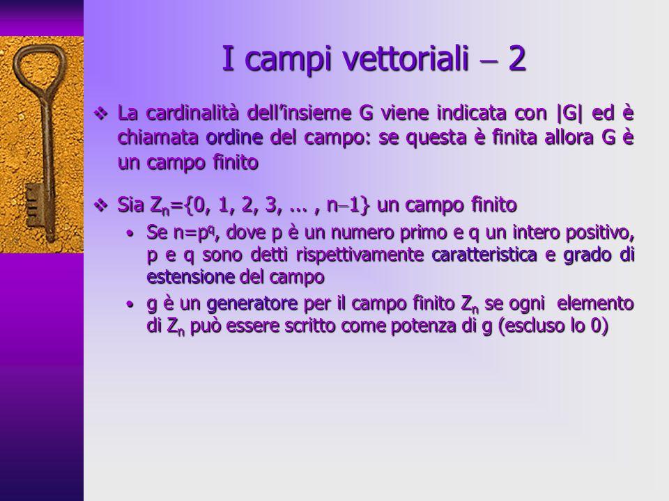 La cardinalità dellinsieme G viene indicata con |G| ed è chiamata ordine del campo: se questa è finita allora G è un campo finito La cardinalità dellinsieme G viene indicata con |G| ed è chiamata ordine del campo: se questa è finita allora G è un campo finito Sia Z n ={0, 1, 2, 3,..., n 1} un campo finito Sia Z n ={0, 1, 2, 3,..., n 1} un campo finito Se n=p q, dove p è un numero primo e q un intero positivo, p e q sono detti rispettivamente caratteristica e grado di estensione del campo Se n=p q, dove p è un numero primo e q un intero positivo, p e q sono detti rispettivamente caratteristica e grado di estensione del campo g è un generatore per il campo finito Z n se ogni elemento di Z n può essere scritto come potenza di g (escluso lo 0) g è un generatore per il campo finito Z n se ogni elemento di Z n può essere scritto come potenza di g (escluso lo 0) I campi vettoriali 2
