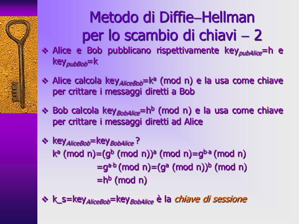 Alice e Bob pubblicano rispettivamente key pubAlice =h e key pubBob =k Alice e Bob pubblicano rispettivamente key pubAlice =h e key pubBob =k Alice calcola key AliceBob =k a (mod n) e la usa come chiave per crittare i messaggi diretti a Bob Alice calcola key AliceBob =k a (mod n) e la usa come chiave per crittare i messaggi diretti a Bob Bob calcola key BobAlice =h b (mod n) e la usa come chiave per crittare i messaggi diretti ad Alice Bob calcola key BobAlice =h b (mod n) e la usa come chiave per crittare i messaggi diretti ad Alice key AliceBob =key BobAlice .