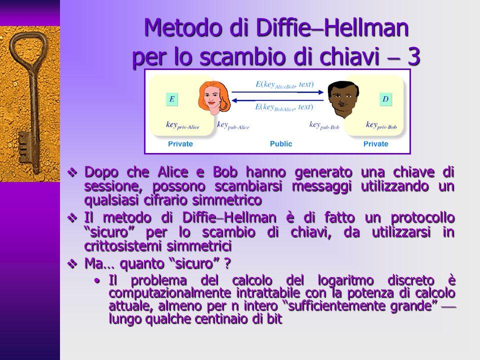 Dopo che Alice e Bob hanno generato una chiave di sessione, possono scambiarsi messaggi utilizzando un qualsiasi cifrario simmetrico Dopo che Alice e Bob hanno generato una chiave di sessione, possono scambiarsi messaggi utilizzando un qualsiasi cifrario simmetrico Il metodo di Diffie Hellman è di fatto un protocollo sicuro per lo scambio di chiavi, da utilizzarsi in crittosistemi simmetrici Il metodo di Diffie Hellman è di fatto un protocollo sicuro per lo scambio di chiavi, da utilizzarsi in crittosistemi simmetrici Ma… quanto sicuro .
