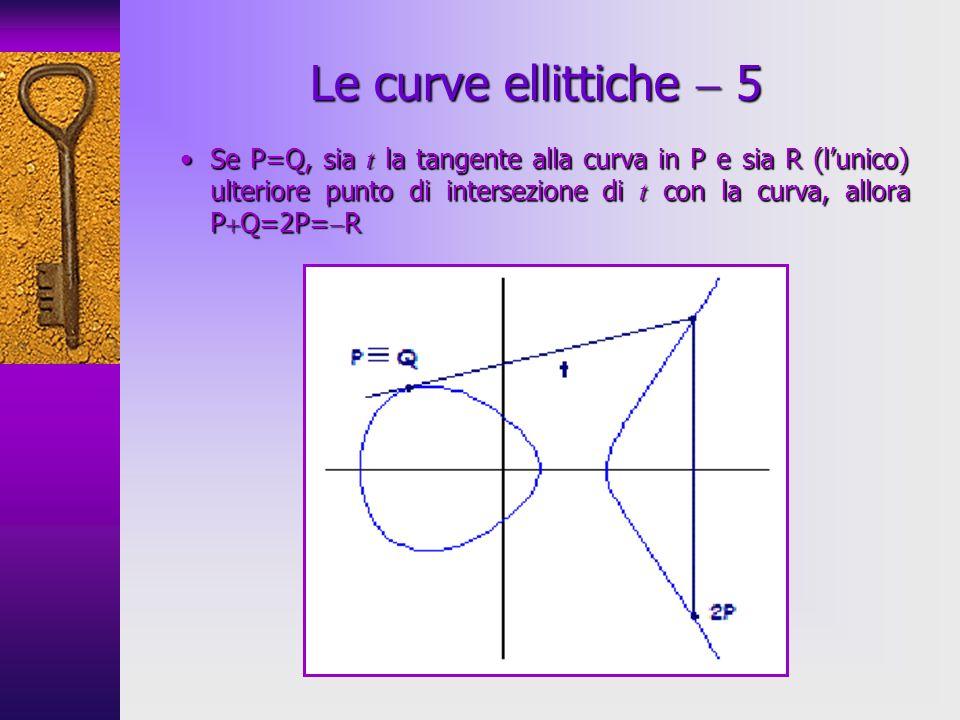 Se P=Q, sia t la tangente alla curva in P e sia R (lunico) ulteriore punto di intersezione di t con la curva, allora P Q=2P= RSe P=Q, sia t la tangente alla curva in P e sia R (lunico) ulteriore punto di intersezione di t con la curva, allora P Q=2P= R Le curve ellittiche 5