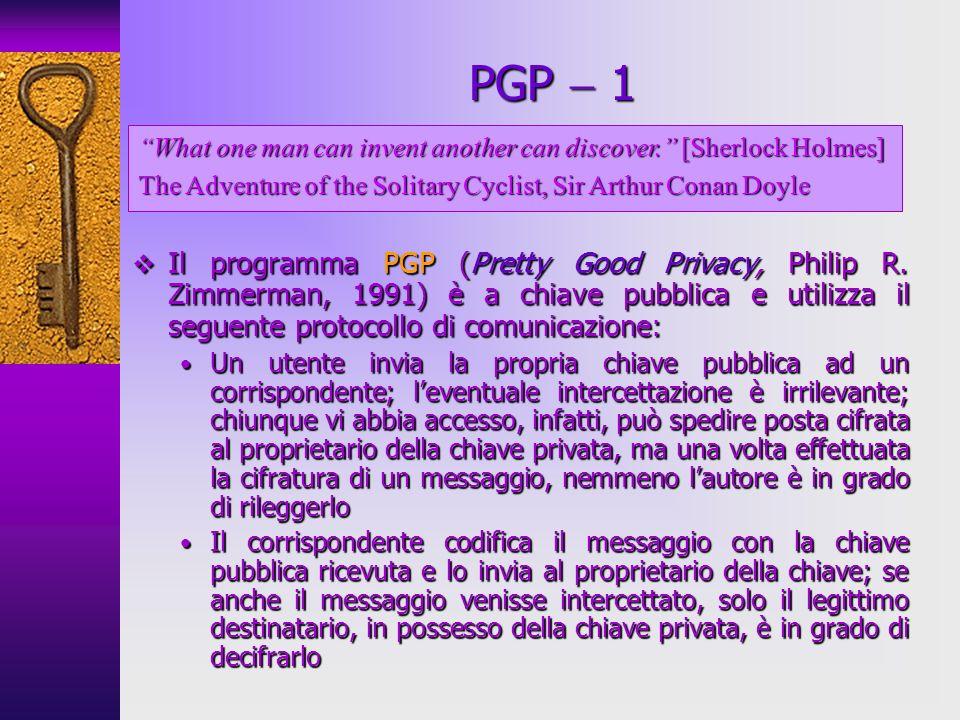 Il programma PGP (Pretty Good Privacy, Philip R. Zimmerman, 1991) è a chiave pubblica e utilizza il seguente protocollo di comunicazione: Il programma