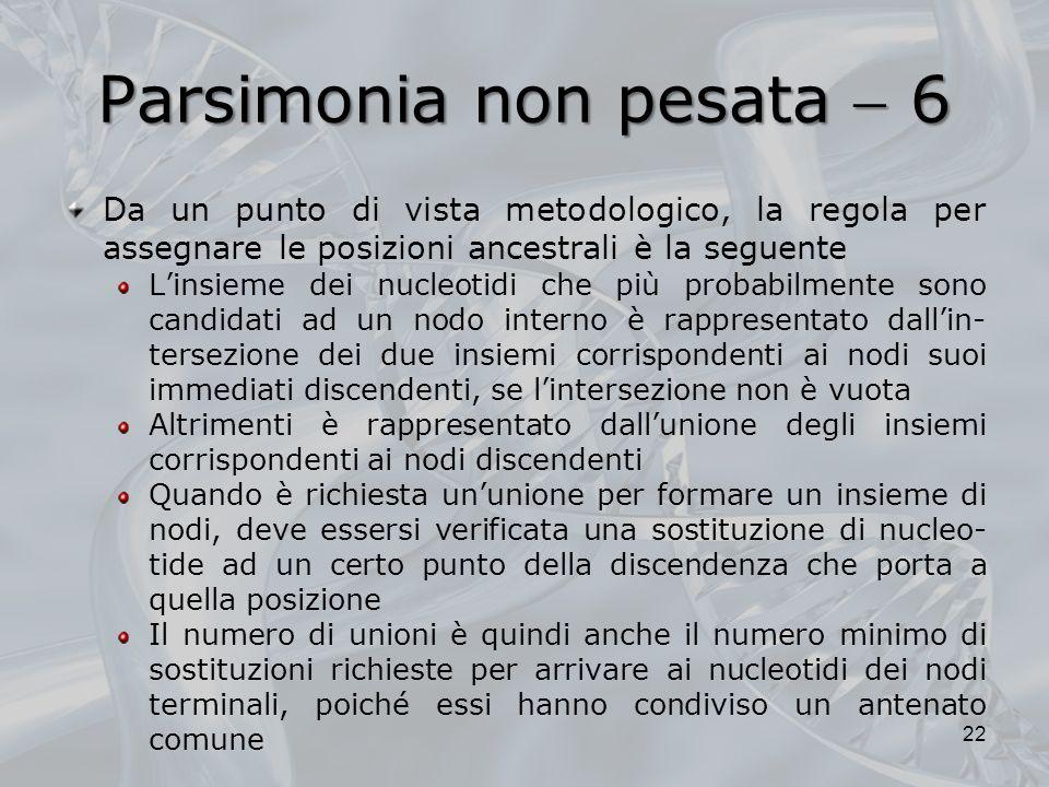 Parsimonia non pesata 6 Da un punto di vista metodologico, la regola per assegnare le posizioni ancestrali è la seguente Linsieme dei nucleotidi che p