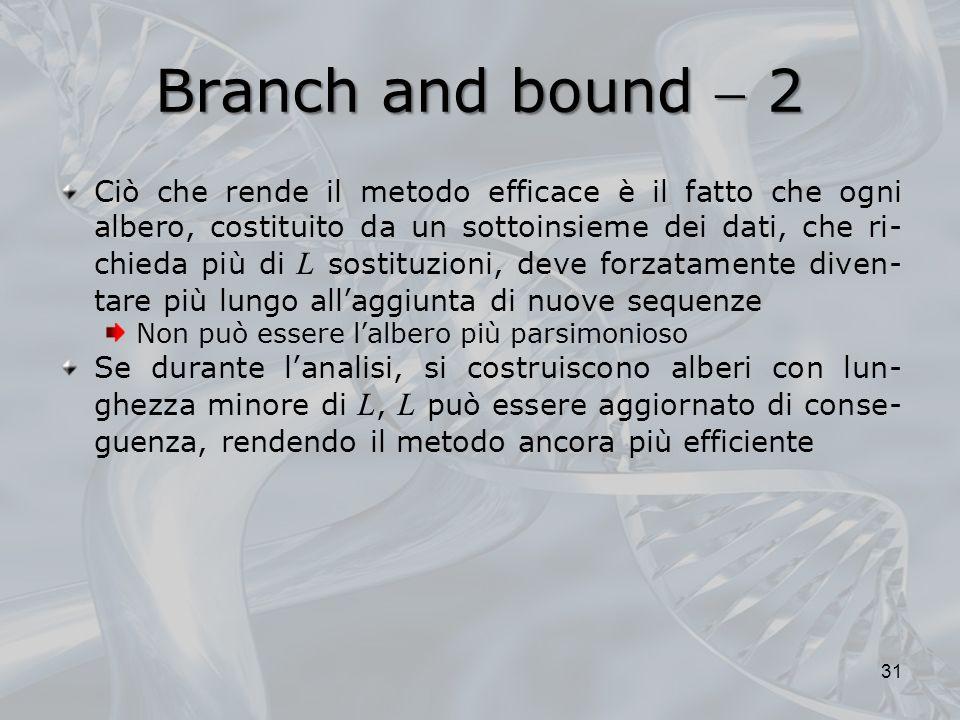 Branch and bound 2 Ciò che rende il metodo efficace è il fatto che ogni albero, costituito da un sottoinsieme dei dati, che ri- chieda più di L sostit