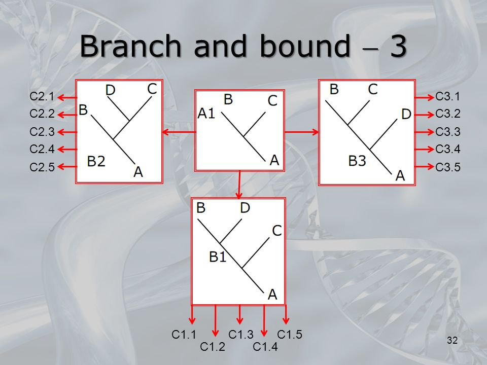 Branch and bound 3 32 C3.5 C3.1 C3.2 C3.3 C3.4 C2.5 C2.1 C2.2 C2.3 C2.4 C1.4 C1.1 C1.2 C1.5C1.3