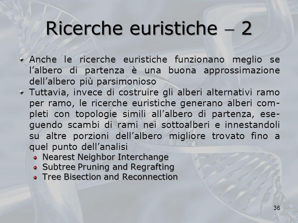 Ricerche euristiche 2 Anche le ricerche euristiche funzionano meglio se lalbero di partenza è una buona approssimazione dellalbero più parsimonioso Tu