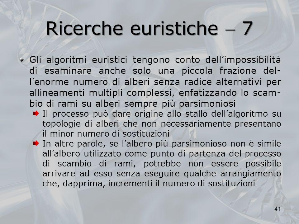 Ricerche euristiche 7 Gli algoritmi euristici tengono conto dellimpossibilità di esaminare anche solo una piccola frazione del- lenorme numero di albe