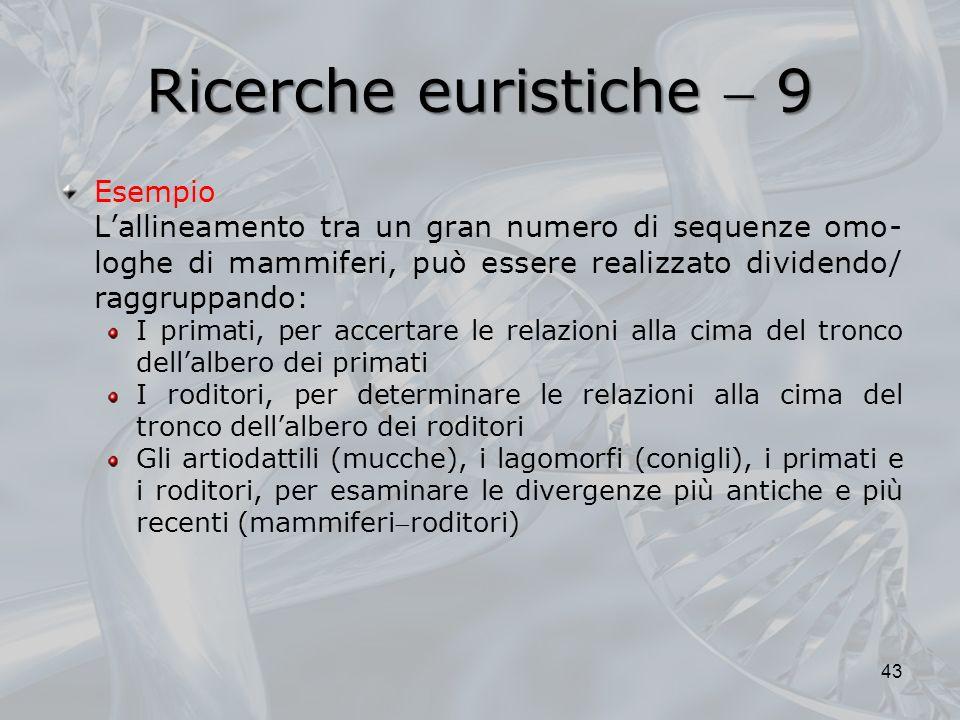 Ricerche euristiche 9 Esempio Lallineamento tra un gran numero di sequenze omo- loghe di mammiferi, può essere realizzato dividendo/ raggruppando: I p