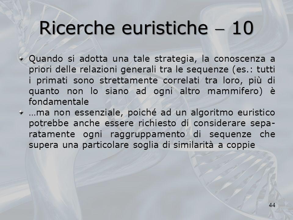 Ricerche euristiche 10 Quando si adotta una tale strategia, la conoscenza a priori delle relazioni generali tra le sequenze (es.: tutti i primati sono