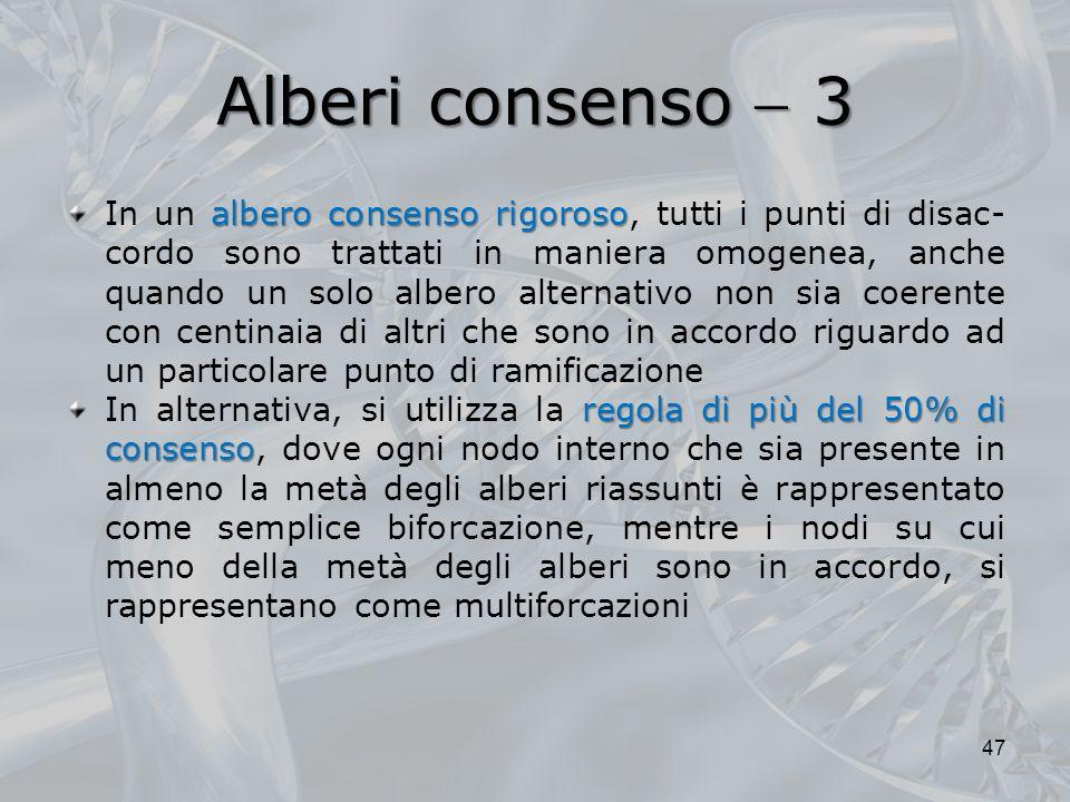 Alberi consenso 3 albero consenso rigoroso In un albero consenso rigoroso, tutti i punti di disac- cordo sono trattati in maniera omogenea, anche quan