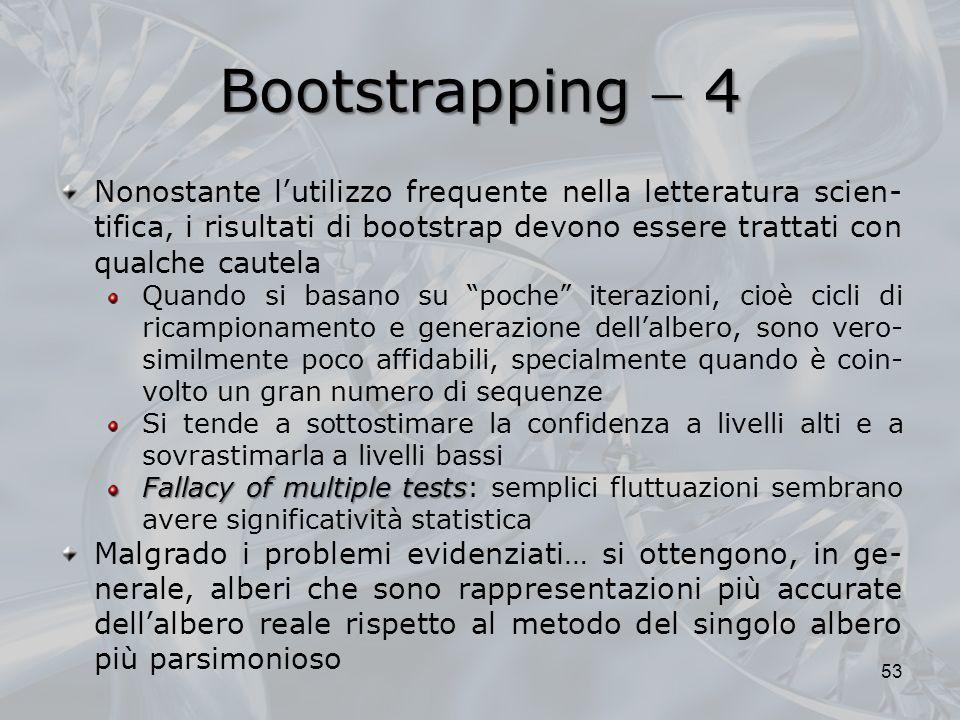 Bootstrapping 4 53 Nonostante lutilizzo frequente nella letteratura scien- tifica, i risultati di bootstrap devono essere trattati con qualche cautela