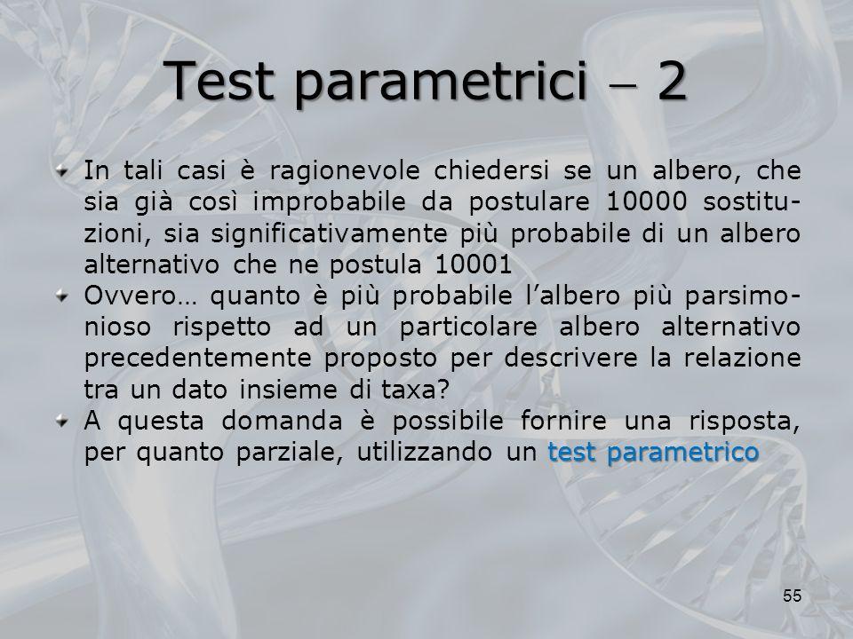 Test parametrici 2 55 In tali casi è ragionevole chiedersi se un albero, che sia già così improbabile da postulare 10000 sostitu- zioni, sia significa