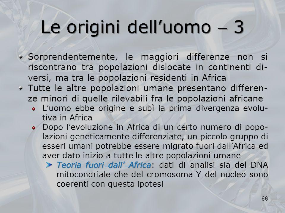 Le origini delluomo 3 66 Sorprendentemente, le maggiori differenze non si riscontrano tra popolazioni dislocate in continenti di- versi, ma tra le pop