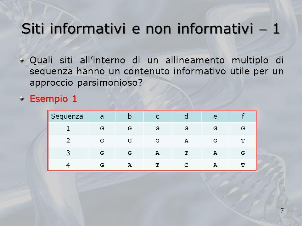 Siti informativi e non informativi 1 Quali siti allinterno di un allineamento multiplo di sequenza hanno un contenuto informativo utile per un approcc