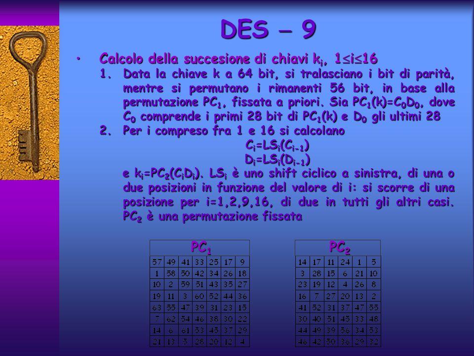 Calcolo della succesione di chiavi k i, 1 i 16Calcolo della succesione di chiavi k i, 1 i 16 1.Data la chiave k a 64 bit, si tralasciano i bit di parità, mentre si permutano i rimanenti 56 bit, in base alla permutazione PC 1, fissata a priori.