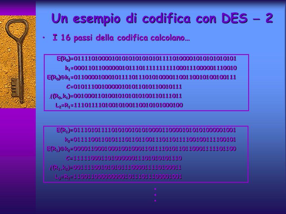 Un esempio di codifica con DES 2 I 16 passi della codifica calcolano…I 16 passi della codifica calcolano… E(R 1 )=011101011110101001010100001100001010101000001001 E(R 1 )=011101011110101001010100001100001010101000001001 k 2 =011110011010111011011001110110111100100111100101 k 2 =011110011010111011011001110110111100100111100101 E(R 1 ) k 2 =000011000100010010001101111010110110001111101100 C=11111000110100000011101010101110 C=11111000110100000011101010101110 (R 1,k 2 )=00111100101010111000011110100011 (R 1,k 2 )=00111100101010111000011110100011 L 3 =R 2 =11001100000000010111011100001001 L 3 =R 2 =11001100000000010111011100001001 E(R 0 )=011110100001010101010101011110100001010101010101 E(R 0 )=011110100001010101010101011110100001010101010101 k 1 =000110110000001011101111111111000111000001110010 k 1 =000110110000001011101111111111000111000001110010 E(R 0 ) k 1 =011000010001011110111010100001100110010100100111 C=01011100100000101011010110010111 C=01011100100000101011010110010111 (R 0,k 1 )=00100011010010101010100110111011 (R 0,k 1 )=00100011010010101010100110111011 L 2 =R 1 =11101111010010100110010101000100 L 2 =R 1 =11101111010010100110010101000100