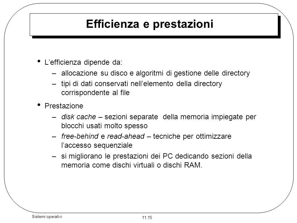 11.15 Sistemi operativi Efficienza e prestazioni Lefficienza dipende da: –allocazione su disco e algoritmi di gestione delle directory –tipi di dati c