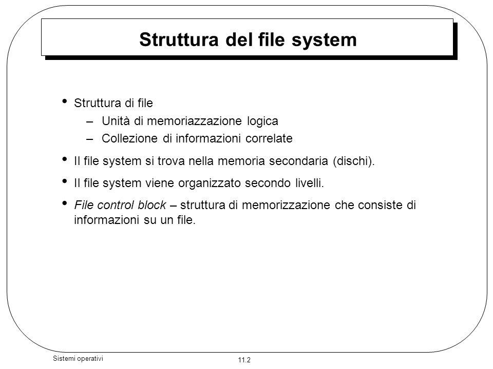 11.2 Sistemi operativi Struttura del file system Struttura di file –Unità di memoriazzazione logica –Collezione di informazioni correlate Il file syst